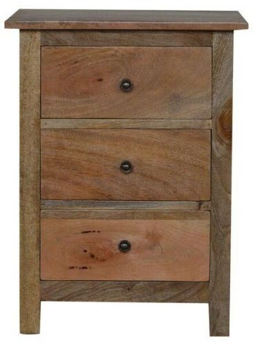 Mango Wood 3 Drawer Bedside Table